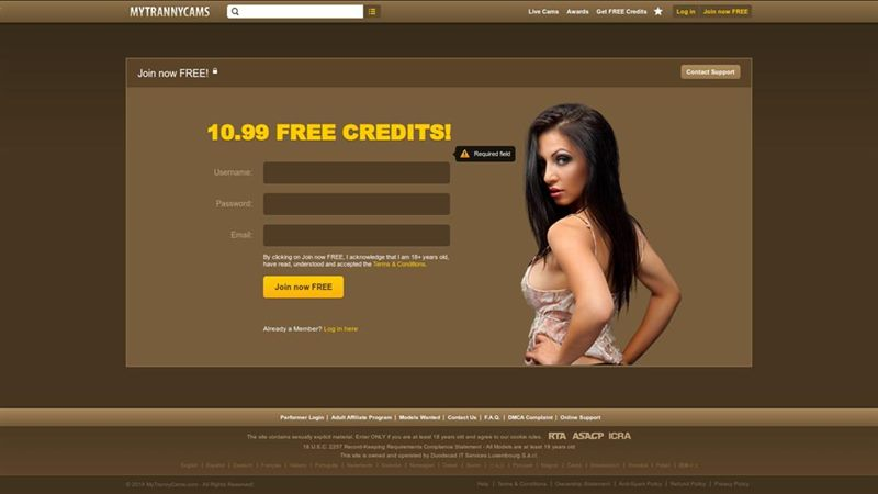 Registration at MyTrannyCams